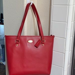 Red leatherette Coach Tote purse